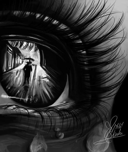 Drawn eyeball black and white Drawing black Reflection white white