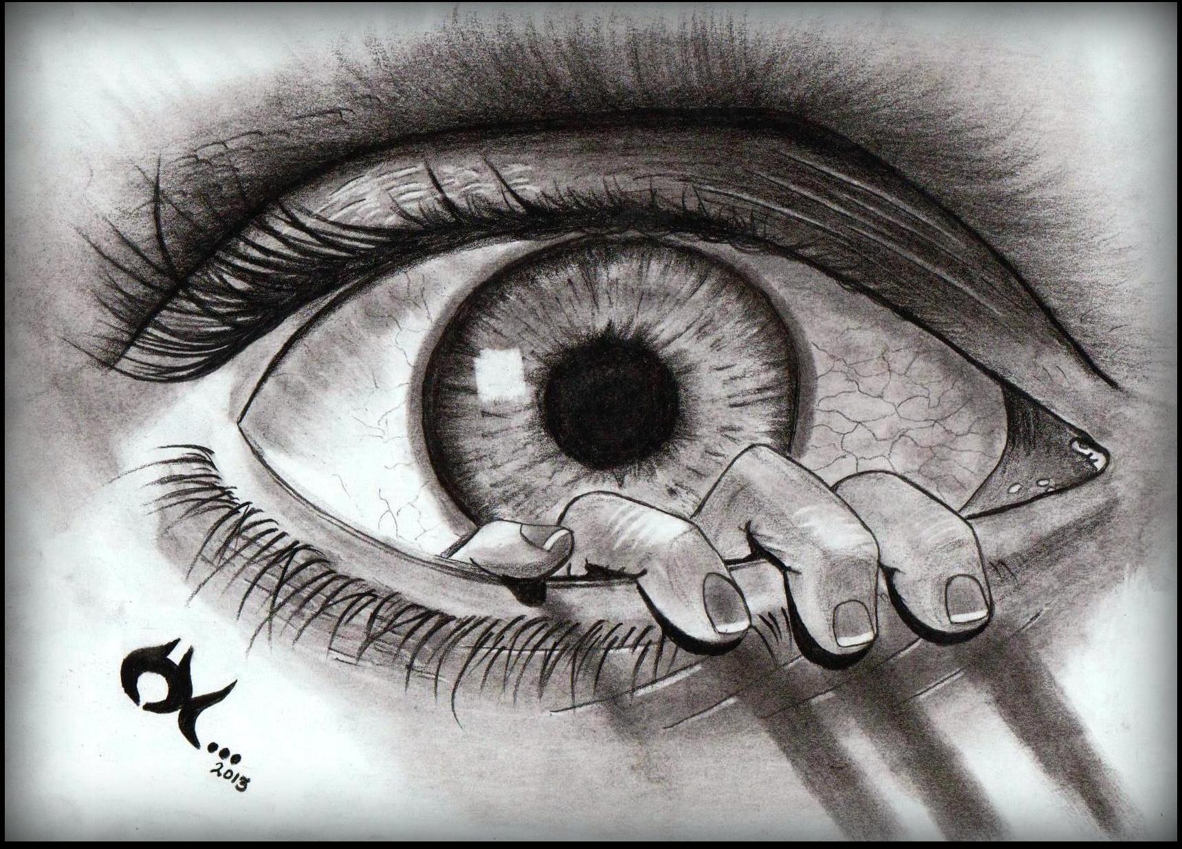 Drawn eyeball charcoal EYE INSIDE  art Hemant