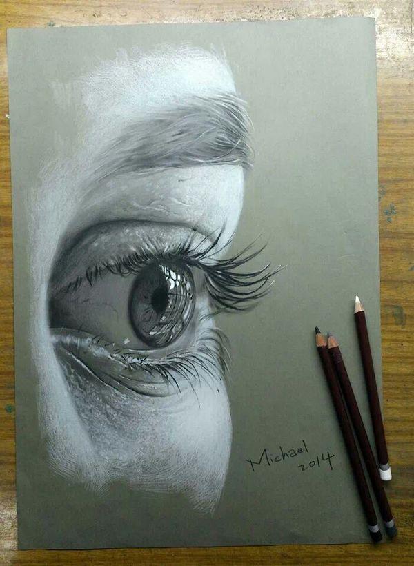 Drawn eyeball charcoal Human Art drawing 3 Art