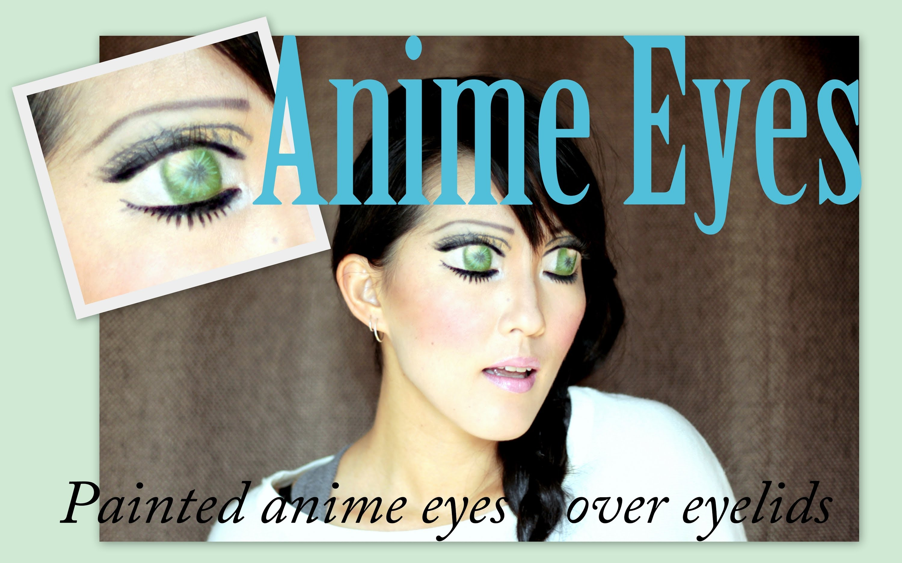 Drawn eyeball eyelid Green over Drawing Green Anime