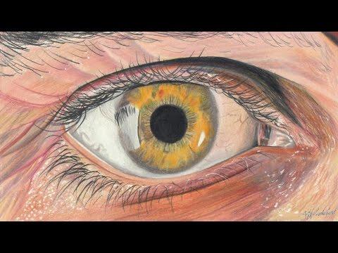 Drawn eyeball faber castell HyperRealistic Drawing colored Eye pencils!