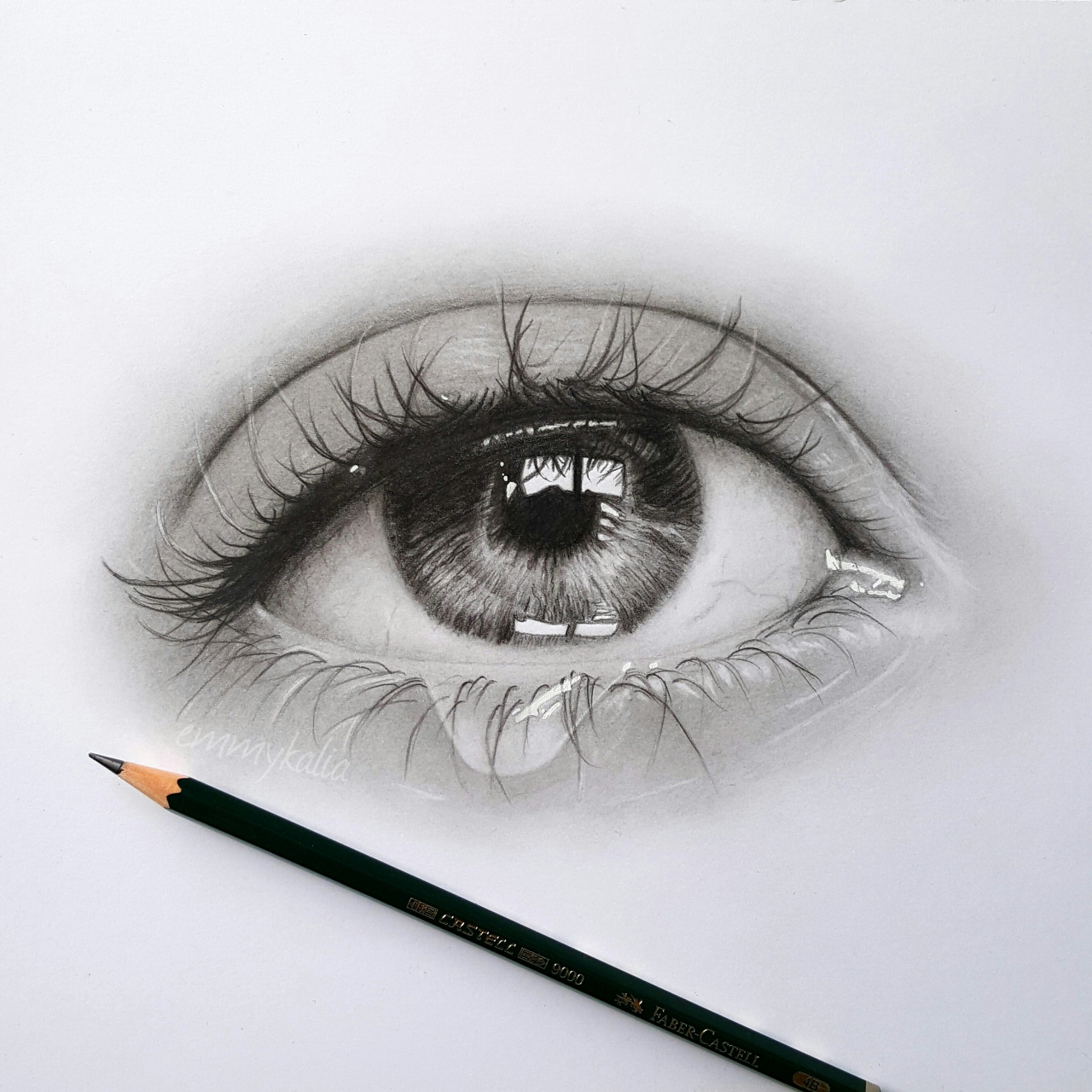 Drawn eyeball faber castell A  graphite Drawing a