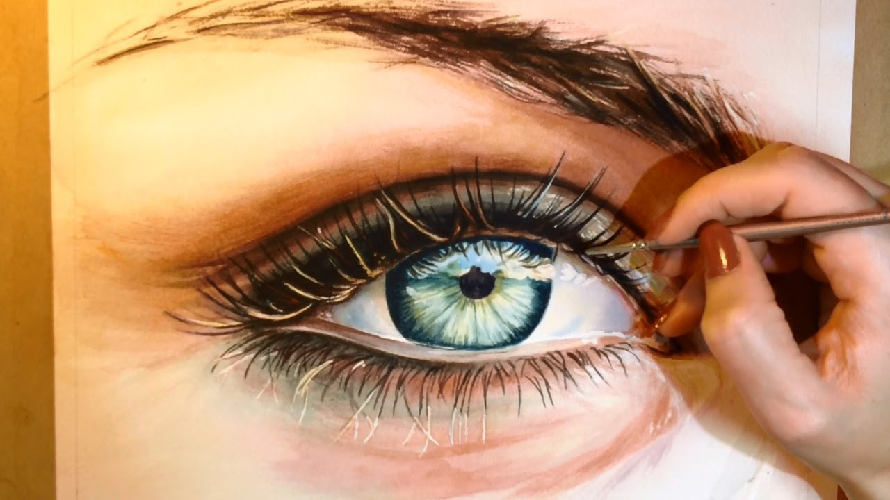 Drawn eyeball famous Watercolor to Paint Realistic Portrait