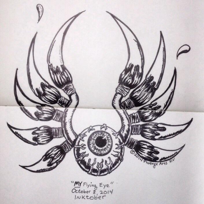 Drawn eyeball flying eyeball MY 8: Eye INKtober Day