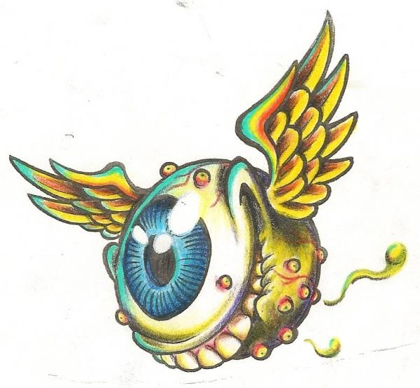 Drawn eyeball flying eyeball With dutch wings Search images