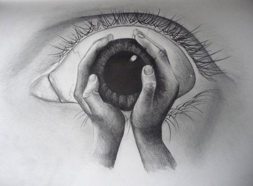 Drawn eyeball hand Drawing Holding Eye Hands of