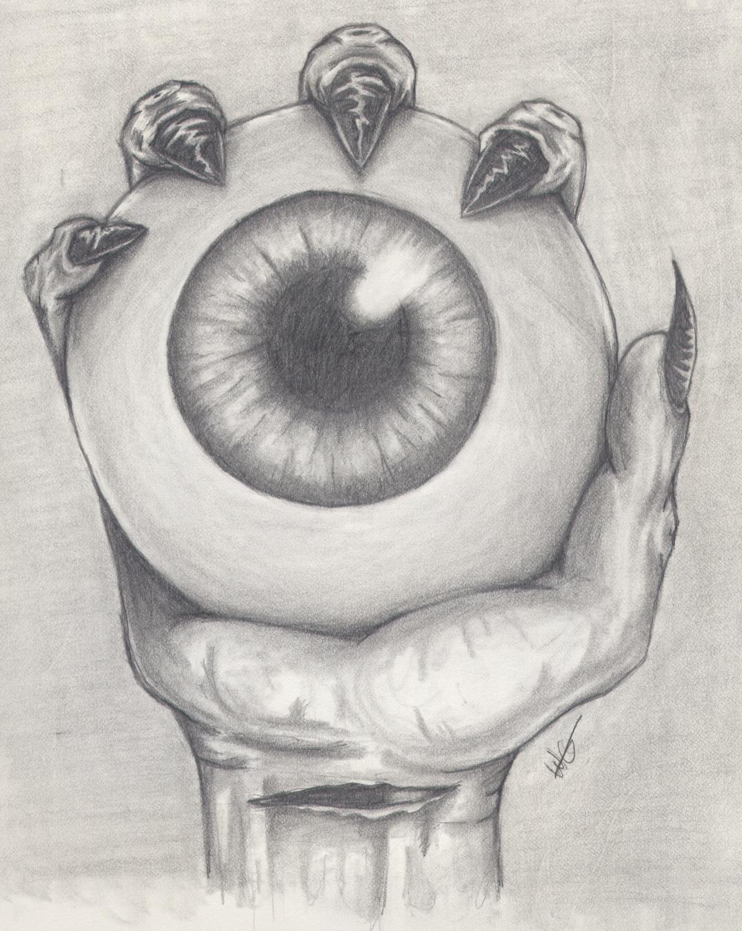 Drawn eyeball hand Hand thingy eye hand on