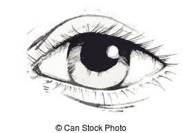 Drawn eyeball hand  drawing or Art Stock