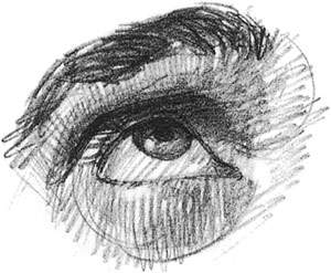 Drawn profile eye Shows the eyelid up Drawing
