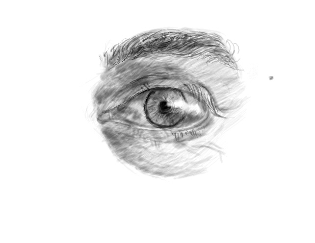 Drawn eyeball man Eye Visible ? Before How