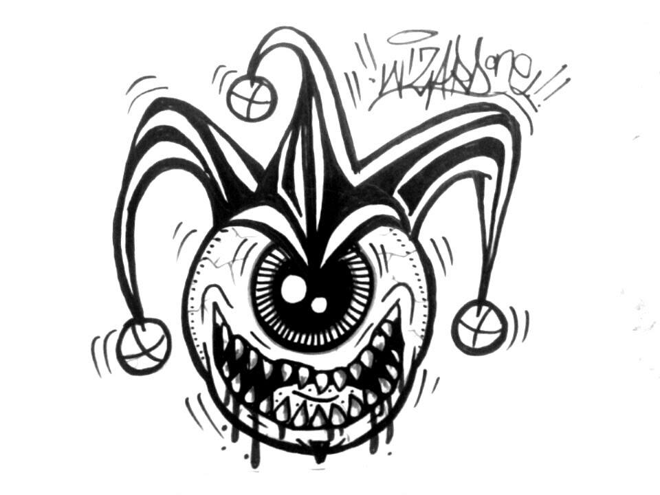 Drawn eyeball one eye Eye Joker one a to