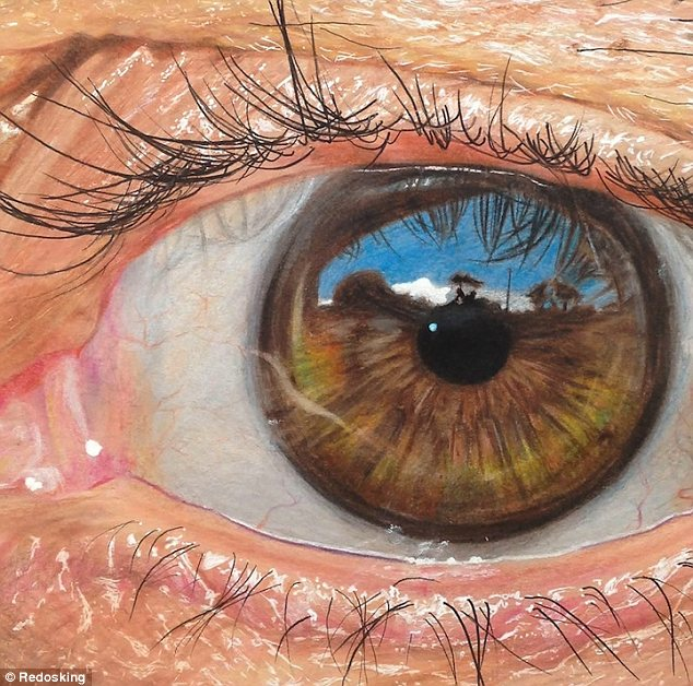 Drawn eyeball photorealistic Stunning outside of the the