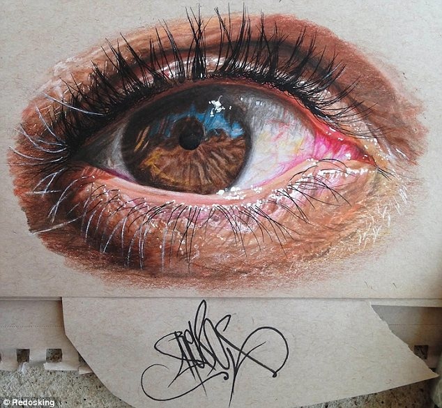 Drawn eyeball photorealistic Realistic is series pictured first