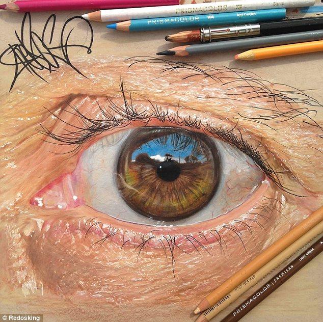 Drawn eyeball photorealistic Photo of 20 hours drawing
