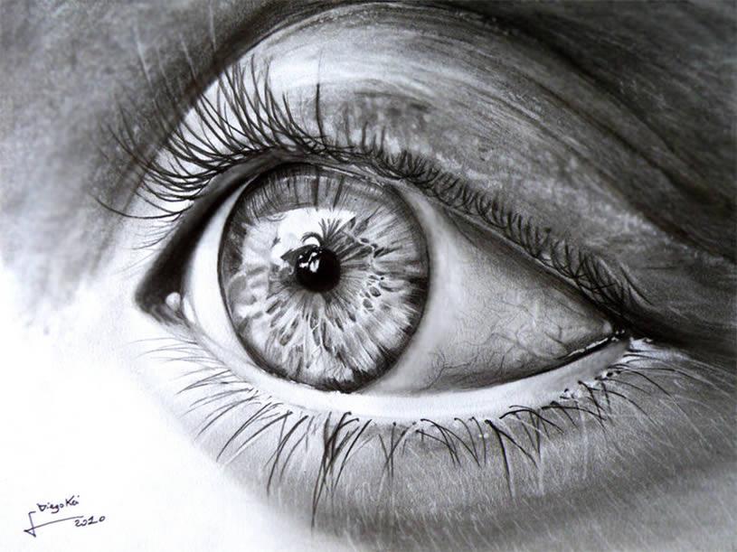Drawn eyeball photorealistic Eye eyes for fare drawing