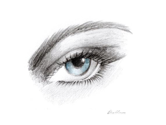 Drawn eyeball printable Drawing Print art hand printable