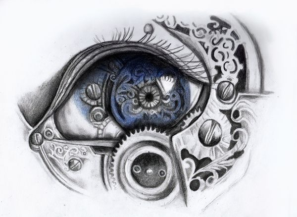 Drawn steampunk face Eye drawings Print Best 25+