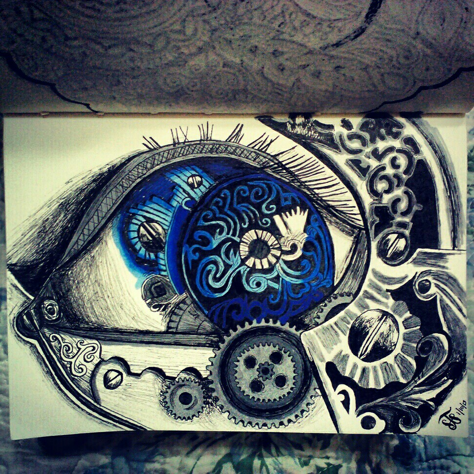 Drawn eyeball steampunk Mechanical art eye and Print