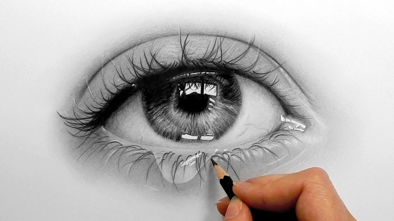 Drawn water droplets dropping Eye and Timelapse a Timelapse