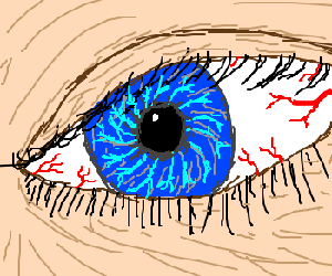Drawn eyeball vein A of red Close with