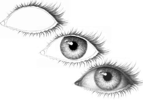 Drawn eyelash Tutorials on an drawing' eye