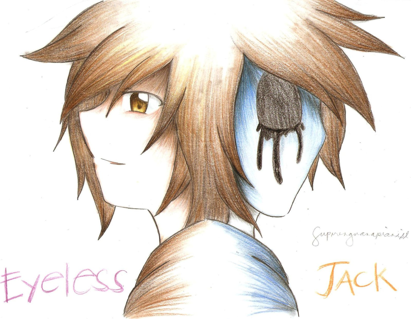 Drawn eyeless jack anime By JACK COLORED by PENCIL