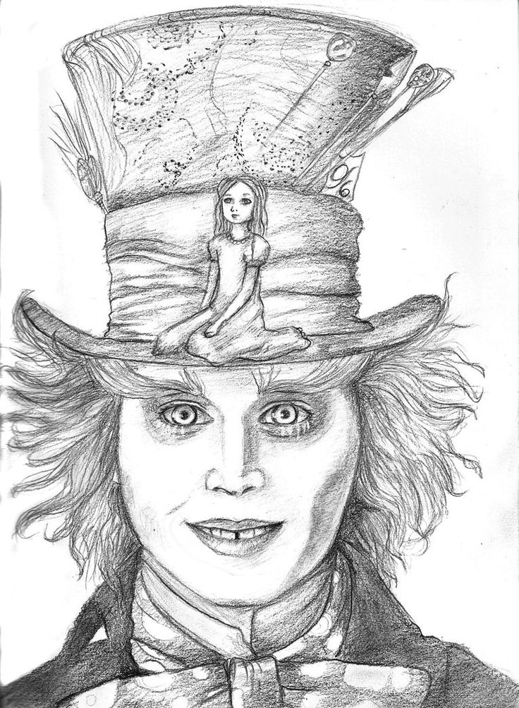 Drawn alice in wonderland mad hatter Hatter Mad on Pencil drawing