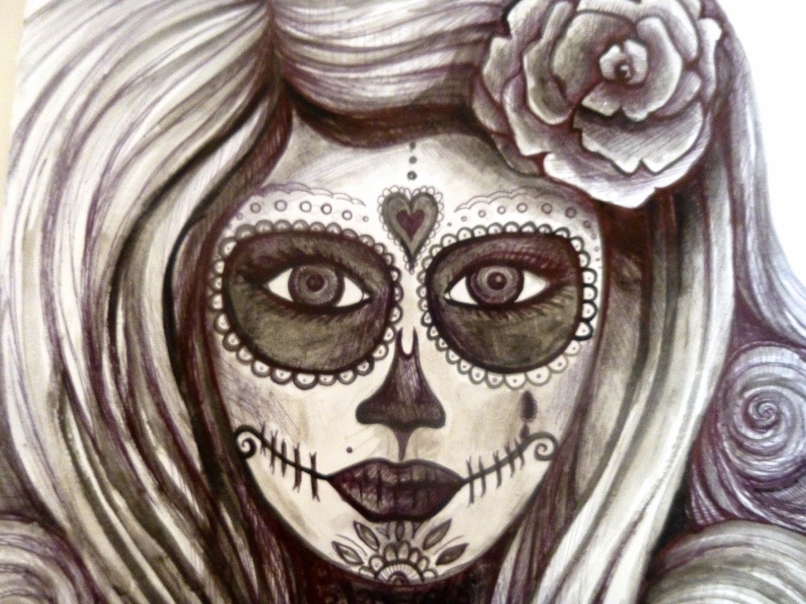 Drawn sugar skull hand painted Acrylic creative skull inspired skull