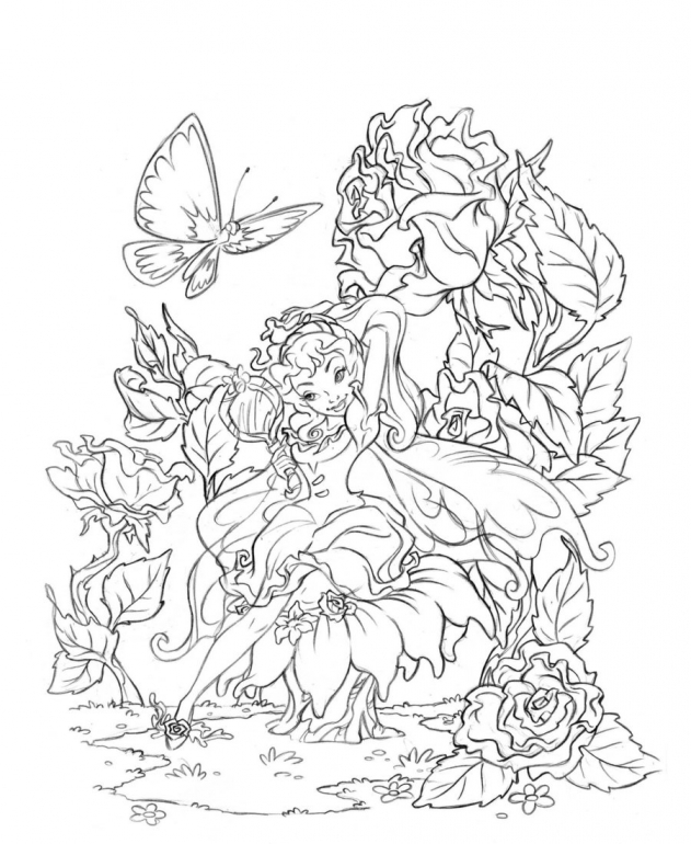Drawn fairy coloring page Winter Winter Online Pages Pages