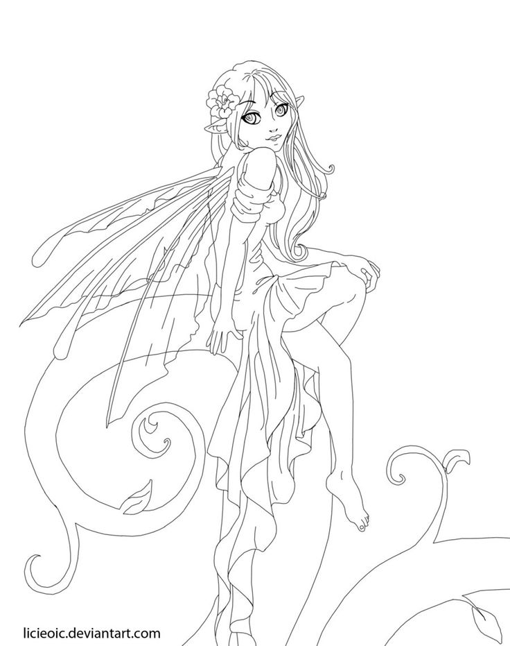 Drawn fairy coloring page Beautiful by Adults images Fairie