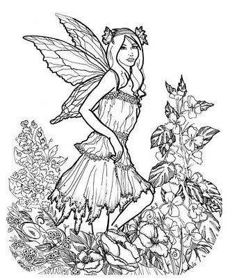 Drawn fairy coloring page Detailed Adults Detailed a