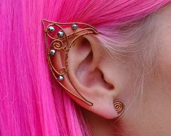 Drawn fairy elf ear Cuffs Ear Gold Wire Wrap