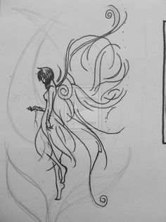 Drawn fairy side view By Best Fairy Tattoo Designs