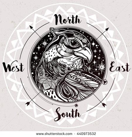 Drawn compass tribal Detailed Eagle or drawn hand