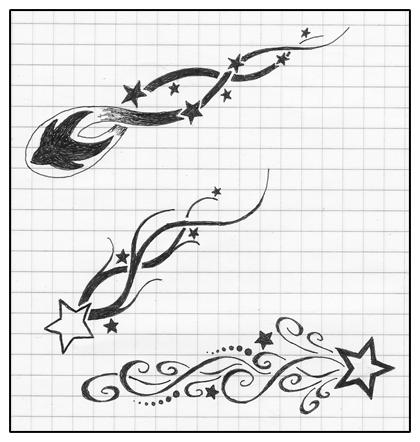 Drawn falling stars Tattoo shooting Ha shooting Sleeve