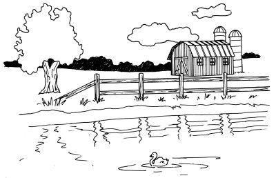 Drawn farm Draw in of pond bring