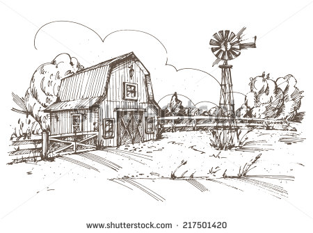 Drawn farm Search panoramic farm scenes farm