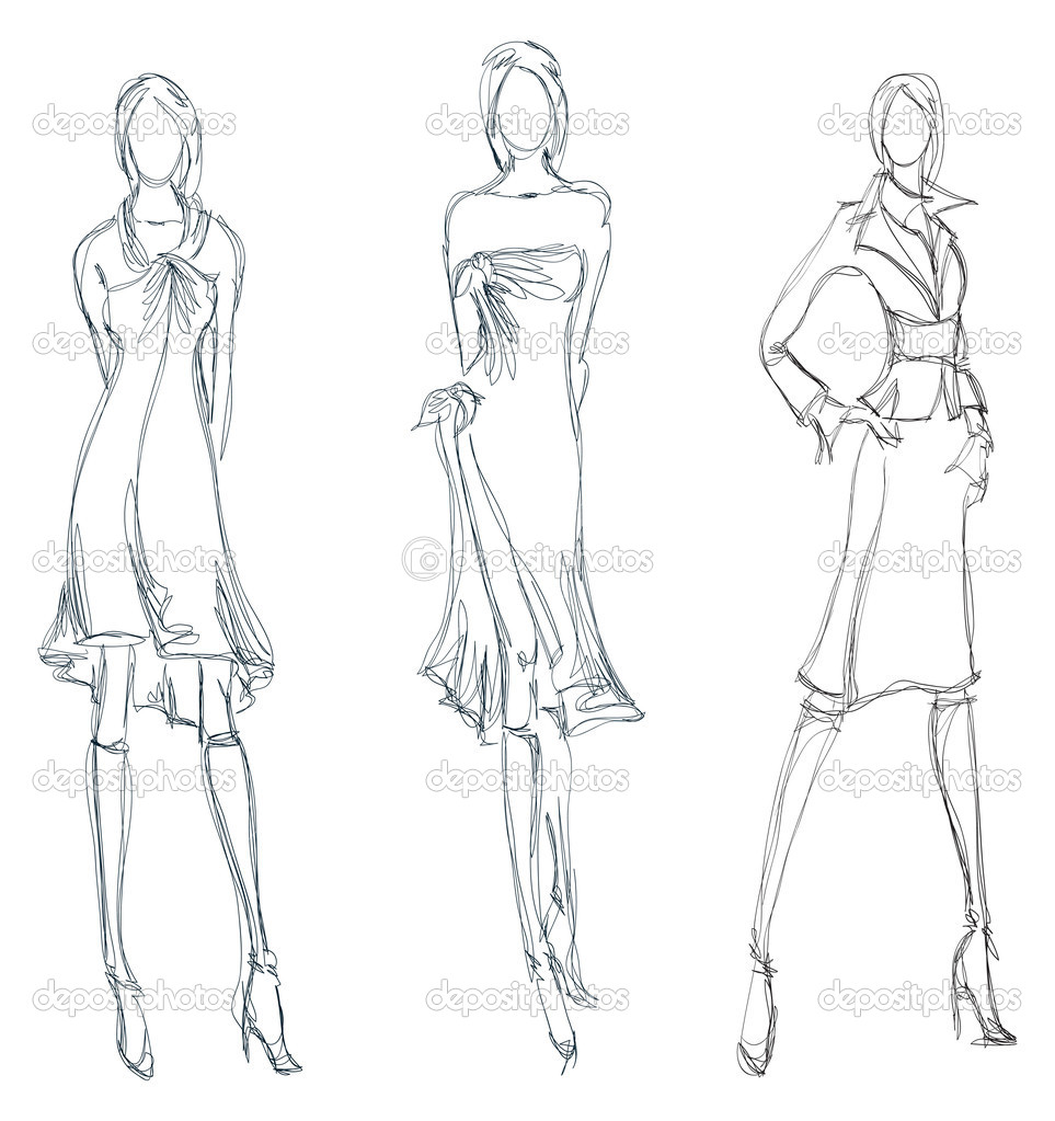 Drawn fashion Girl Fashion Sketches to girl