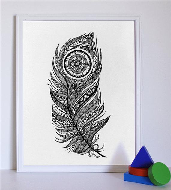 Drawn peacock decorative Original Feather Black  Peacock