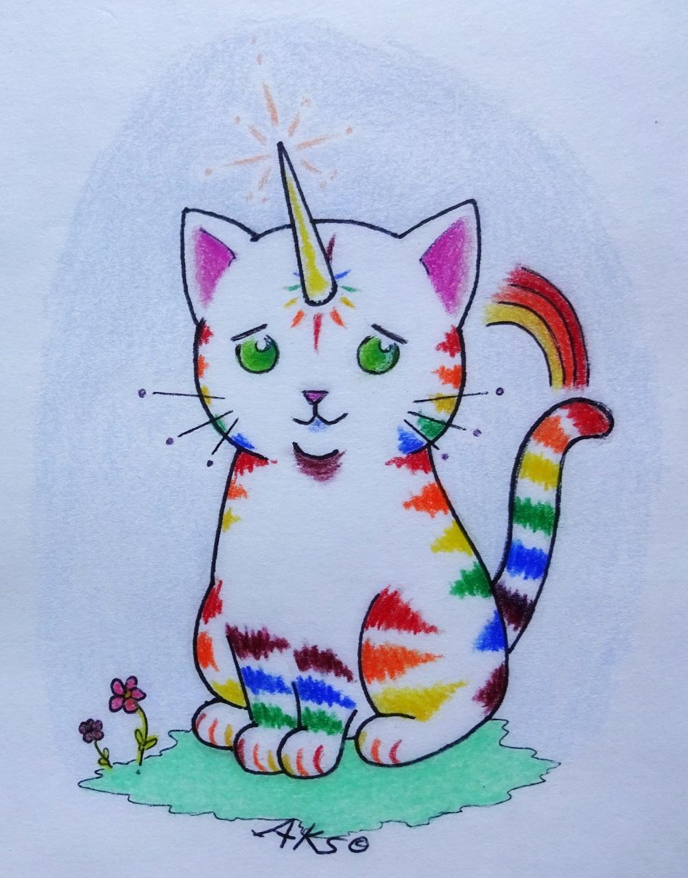 Drawn rainbow small Unicorn  Kitty art art