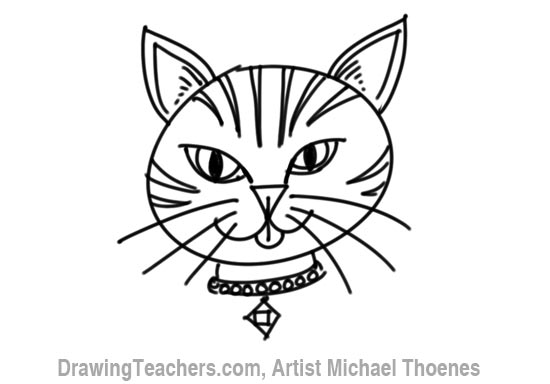Drawn pice cat Step 6 Cartoon How Face