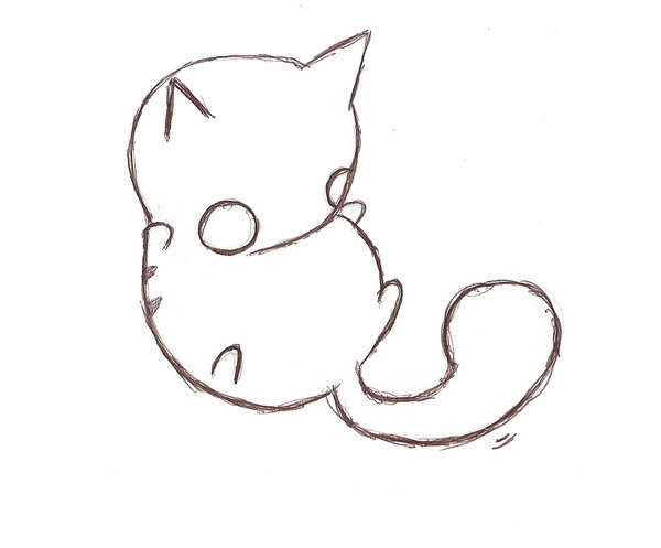 Drawn kitten anime On Cat Cat  and