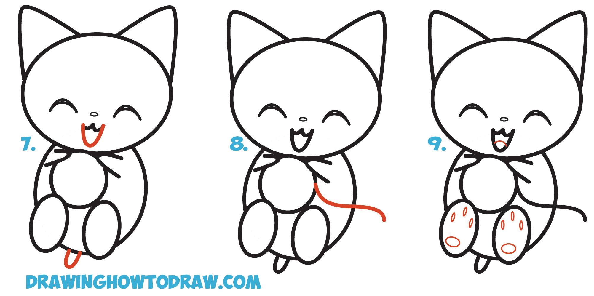 Drawn kitten chibi To Easy Drawing Cartoon Chibi