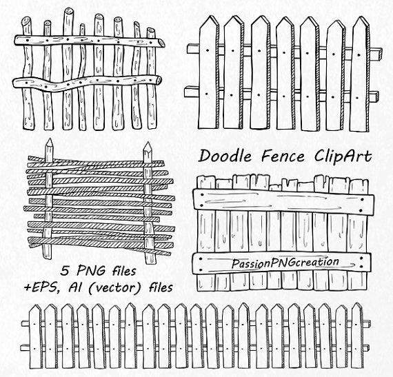 Drawn fence Fence Hand fence Doodle Clipart