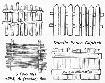 Drawn fence Fence fence Wooden Etsy EPS