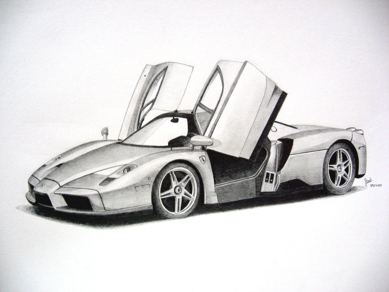 Drawn ferarri Drawing Pencil Ferrari Drawing Realistic
