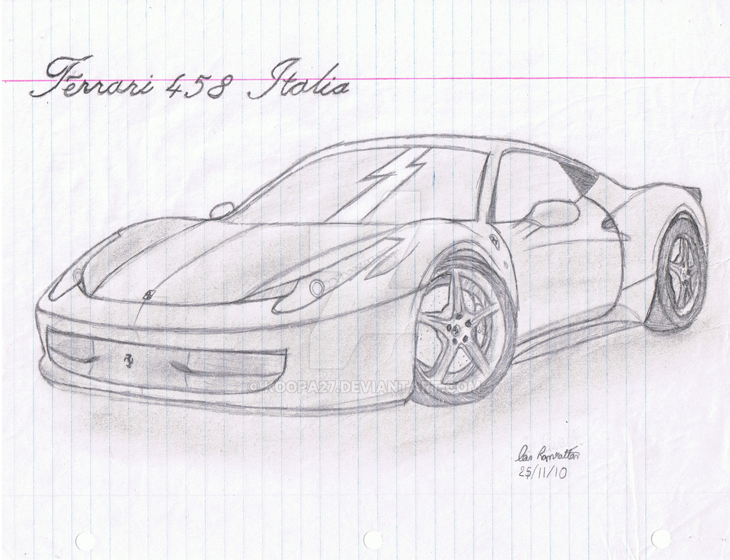 Drawn ferrari Italia on 458 koopa27 Ferrari