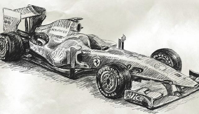 Drawn race car f1 car 1 Ferrari draw how Vimeo
