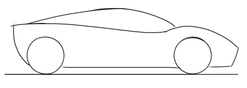 Drawn race car simple Tutorial for View view kids: