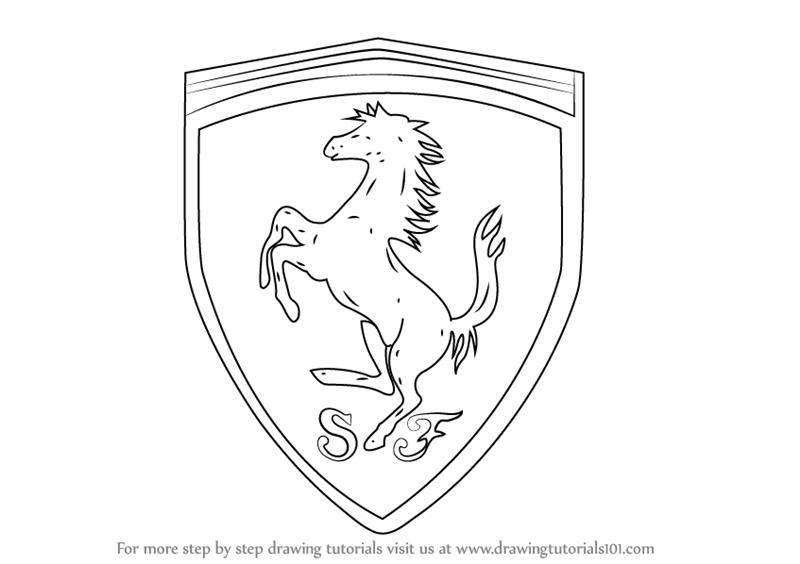 Drawn ferarri easy (Brand Logos) Step Step by